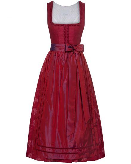 Kleider für Frauen - LODENFREY Leinen Wiesndirndl 2018 lang mit Seidenschürze  - Onlineshop Lodenfrey