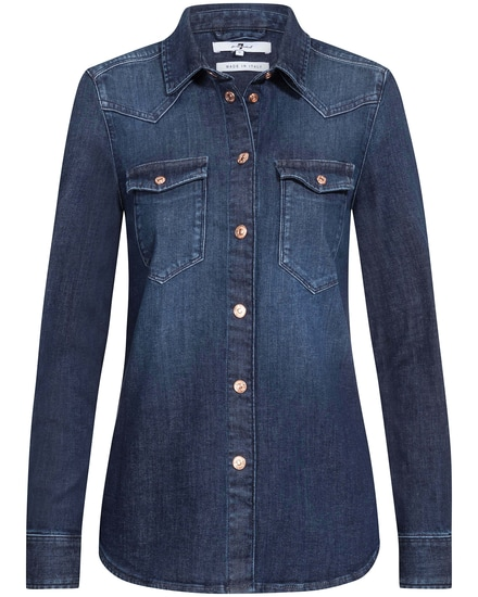 7 For All Mankind- The Shirt Jeansbluse | Damen (S)