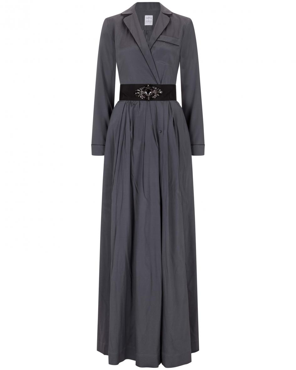 Kenji long Seiden-Abendkleid 42