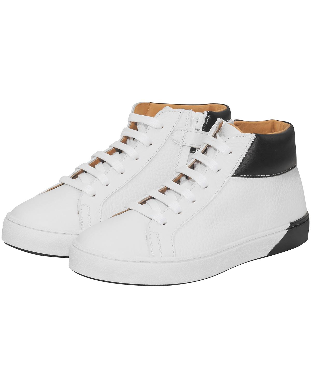 Artikel klicken und genauer betrachten! - Jungen-Sneaker von Galluci in Weiß und Schwarz. Der hohe Sneaker aus strukturiertem Leder präsentiert sich klassisch gehalten in sportiver Aufmachung..... Mehr Details bei Lodenfrey.com!   im Online Shop kaufen
