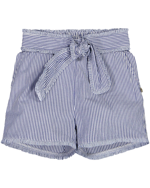 Artikel klicken und genauer betrachten! - Mädchen-Shorts von Scotch & Soda in Blau und Weiß. Dank verspieltem, dekorativemGürtel erweist sich das Modell mit zarten Rüschen-Details als.... Mehr Details bei Lodenfrey.com!   im Online Shop kaufen