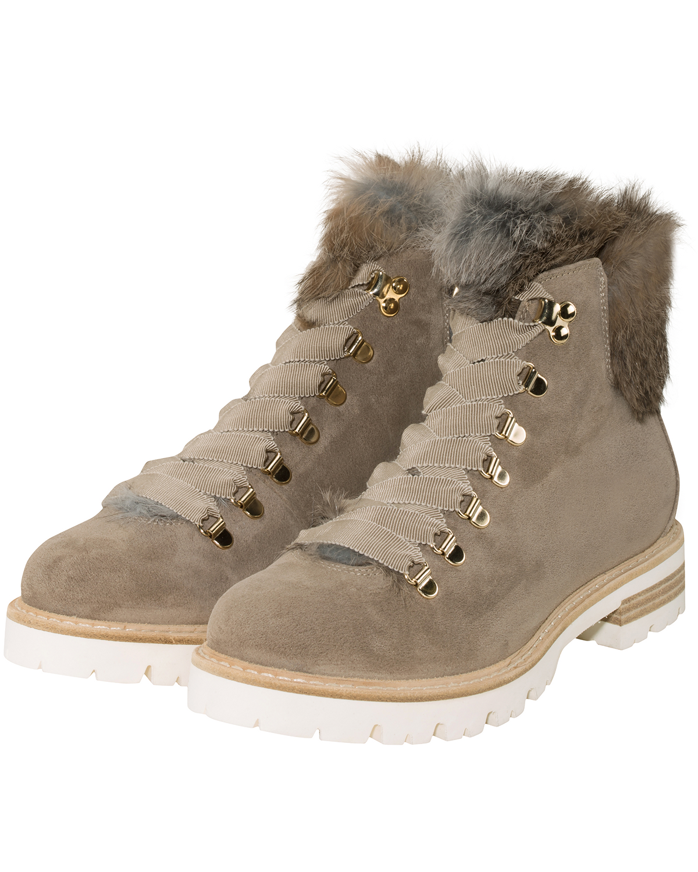 AGL Damen Sneakers sale Fellbesatz beige weiß